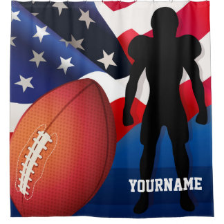 American Football Player Silhouette with US Flag
