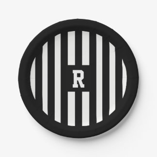 American Football Referee Stripes Paper Plates 7 Inch Paper Plate