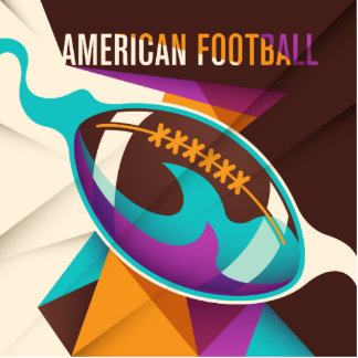 American Football Sport Ball Abstract Photo Sculpture Button