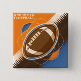 American Football Sport Ball Game 2 Inch Square Button