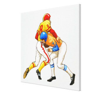 American footballer blocking an opponent gallery wrapped canvas