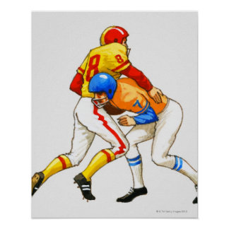 American footballer blocking an opponent poster