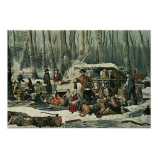 American Forest Scene - Maple Sugaring, 1856 Poster