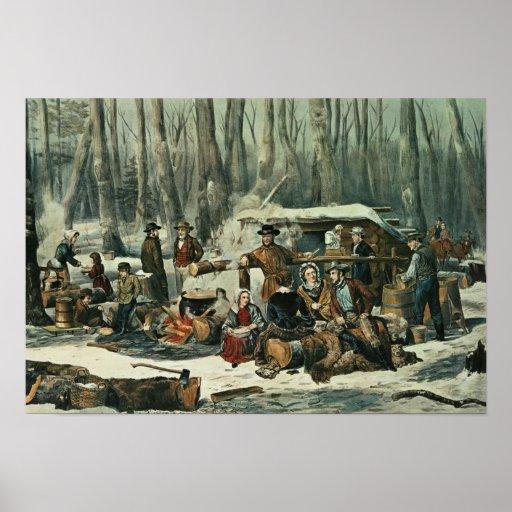 American Forest Scene - Maple Sugaring, 1856 Print