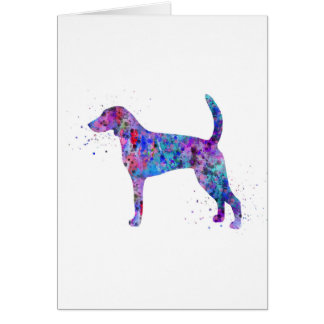 American foxhound, American foxhound watercolor Card