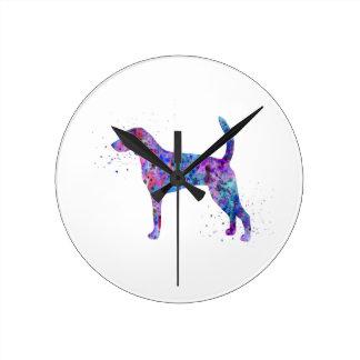 American foxhound, American foxhound watercolor Round Clock
