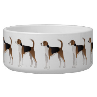 American Foxhound Basic Dog Breed Illustration Pet Bowl