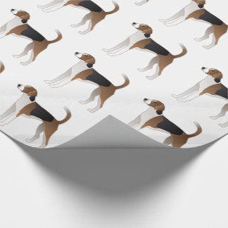 American Foxhound Basic Dog Breed Illustration Wrapping Paper