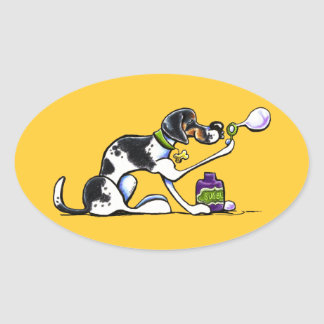 American Foxhound Blowing Bubbles Oval Sticker