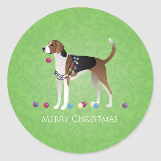 American Foxhound Christmas - Feliz Naughty Dog Round Sticker