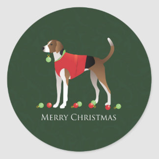 American Foxhound Christmas Round Sticker