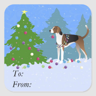 American Foxhound decorating christmas tree-forest Square Sticker