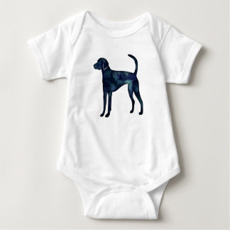American Foxhound Dog Black Watercolor Silhouette Baby Bodysuit