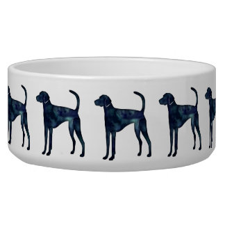 American Foxhound Dog Black Watercolor Silhouette Dog Water Bowl