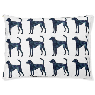 American Foxhound Dog Black Watercolor Silhouette Pet Bed