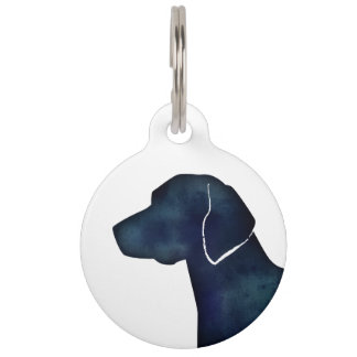 American Foxhound Dog Black Watercolor Silhouette Pet ID Tag