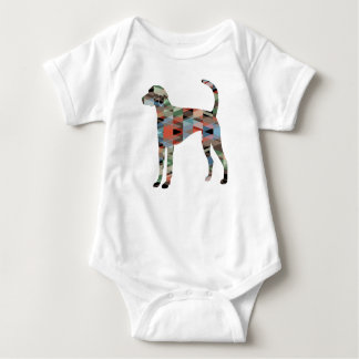 American Foxhound Dog Geo Pattern Silhouette Plaid Baby Bodysuit