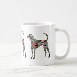 American Foxhound Dog Geo Pattern Silhouette Plaid Coffee Mug