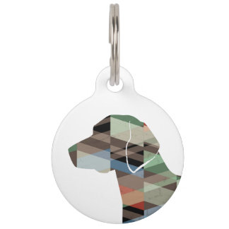 American Foxhound Dog Geo Pattern Silhouette Plaid Pet ID Tag