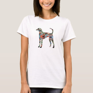American Foxhound Dog Geo Pattern Silhouette Plaid T-Shirt