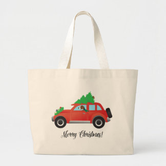 American Foxhound Driving Car with Christmas Tree Jumbo Tote Bag