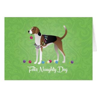 American Foxhound Feliz Naughty Dog Christmas Card