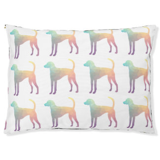 American Foxhound Geo Pattern Silhouette Pastel Large Dog Bed