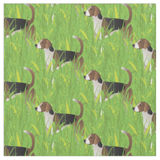 American Foxhound Hunting in the Long Grass Fabric