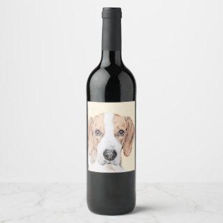 American Foxhound Painting - Cute Original Art Wine Label