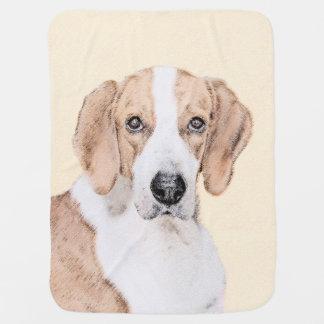 American Foxhound Painting - Cute Original Dog Art Baby Blanket