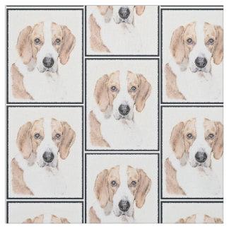 American Foxhound Painting - Cute Original Dog Art Fabric