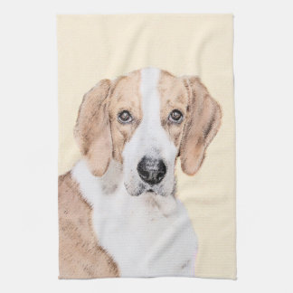 American Foxhound Painting - Cute Original Dog Art Kitchen Towel