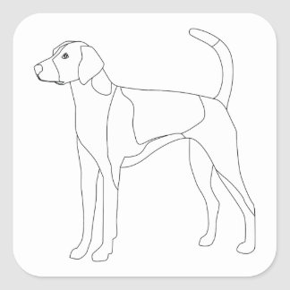 American Foxhound Ready to color and customize Square Sticker
