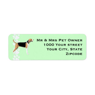 American Foxhound with Pawprints Return Address Label