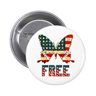 American Freedom Butterfly Button