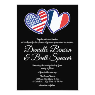 American French Love Wedding Invitation