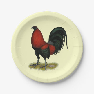 American Game BB Black Red Rooster 7 Inch Paper Plate