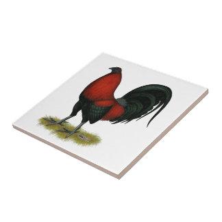 American Game BB Black Red Rooster Ceramic Tile