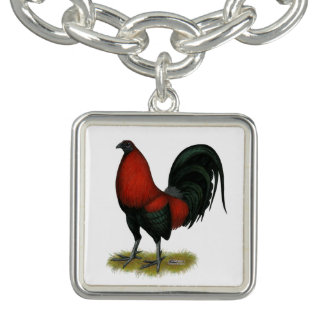 American Game BB Black Red Rooster Charm Bracelet