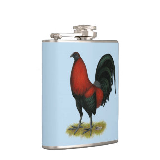 American Game BB Black Red Rooster Hip Flask