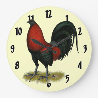 American Game BB Black Red Rooster Large Clock