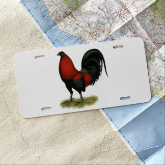 American Game BB Black Red Rooster License Plate