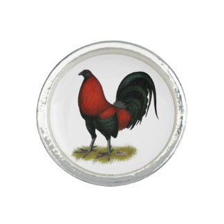 American Game BB Black Red Rooster Ring