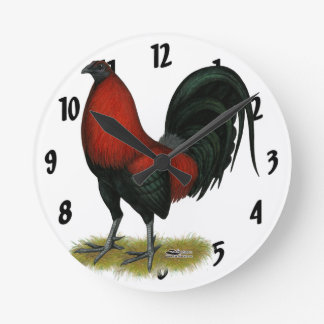 American Game BB Black Red Rooster Round Clock