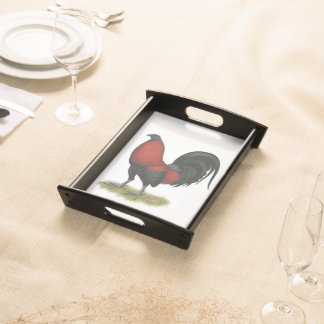American Game BB Black Red Rooster Serving Tray