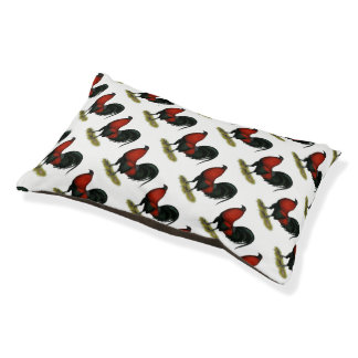 American Game BB Black Red Rooster Small Dog Bed