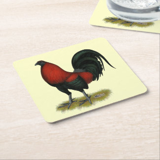 American Game BB Black Red Rooster Square Paper Coaster