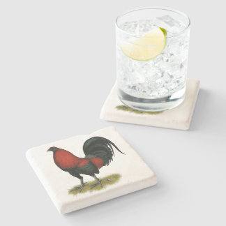 American Game BB Black Red Rooster Stone Coaster