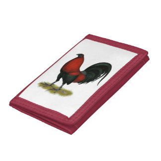 American Game BB Black Red Rooster Tri-fold Wallets