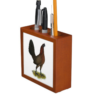 American Game Black Red Hen Desk Organizer